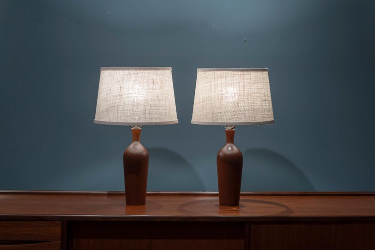 Scandinavian Modern Teak Table Lamps In Good Condition For Sale In San Francisco, CA