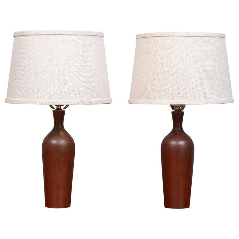 Scandinavian Modern Teak Table Lamps For Sale