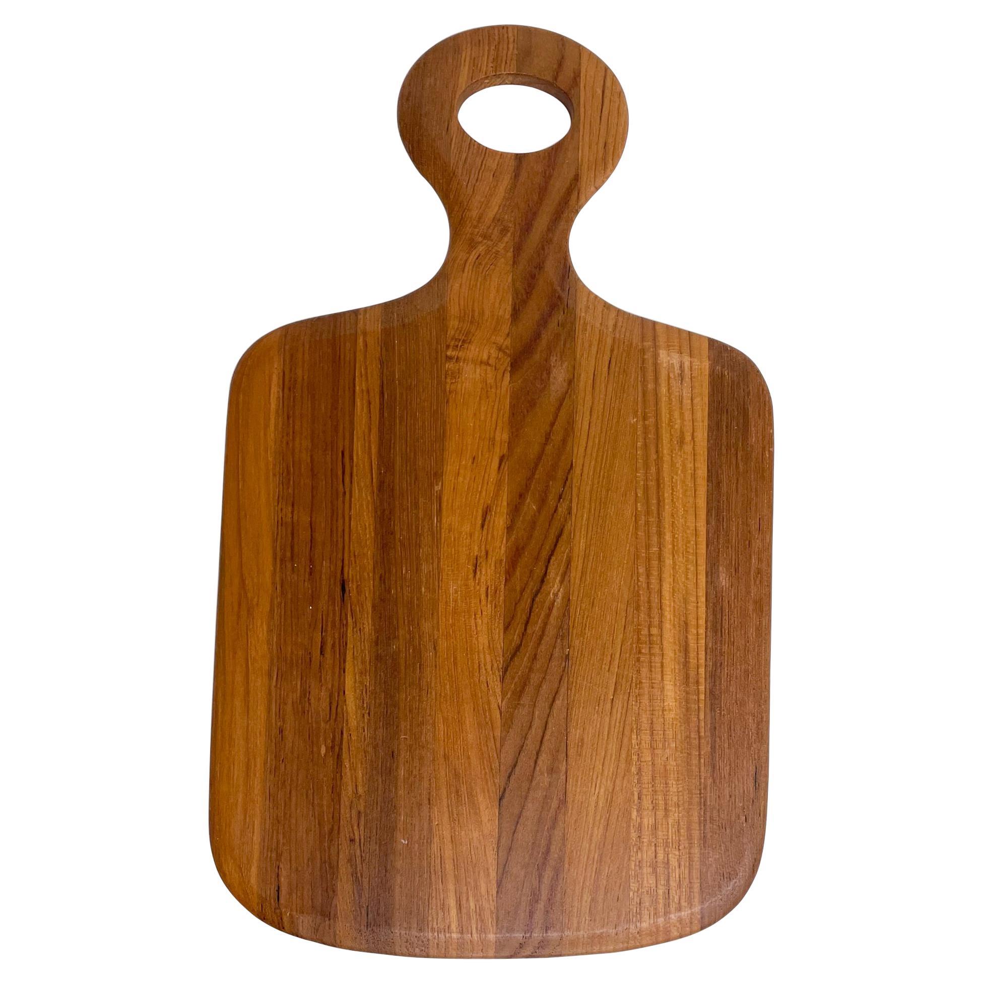 Scandinavian Modern Teak Wood Cheese Cutting Board Wood Platter Dansk 1970s
