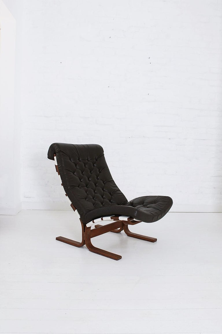 Stained Scandinavian Modern Tufted Leather Lounge Chair, 1970 For Sale