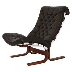 Scandinavian Modern Tufted Leather Lounge Chair, 1970
