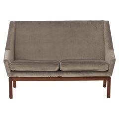 Scandinavian Modern Two Person Settee with Teak Legs by Erik Kolling Andersen