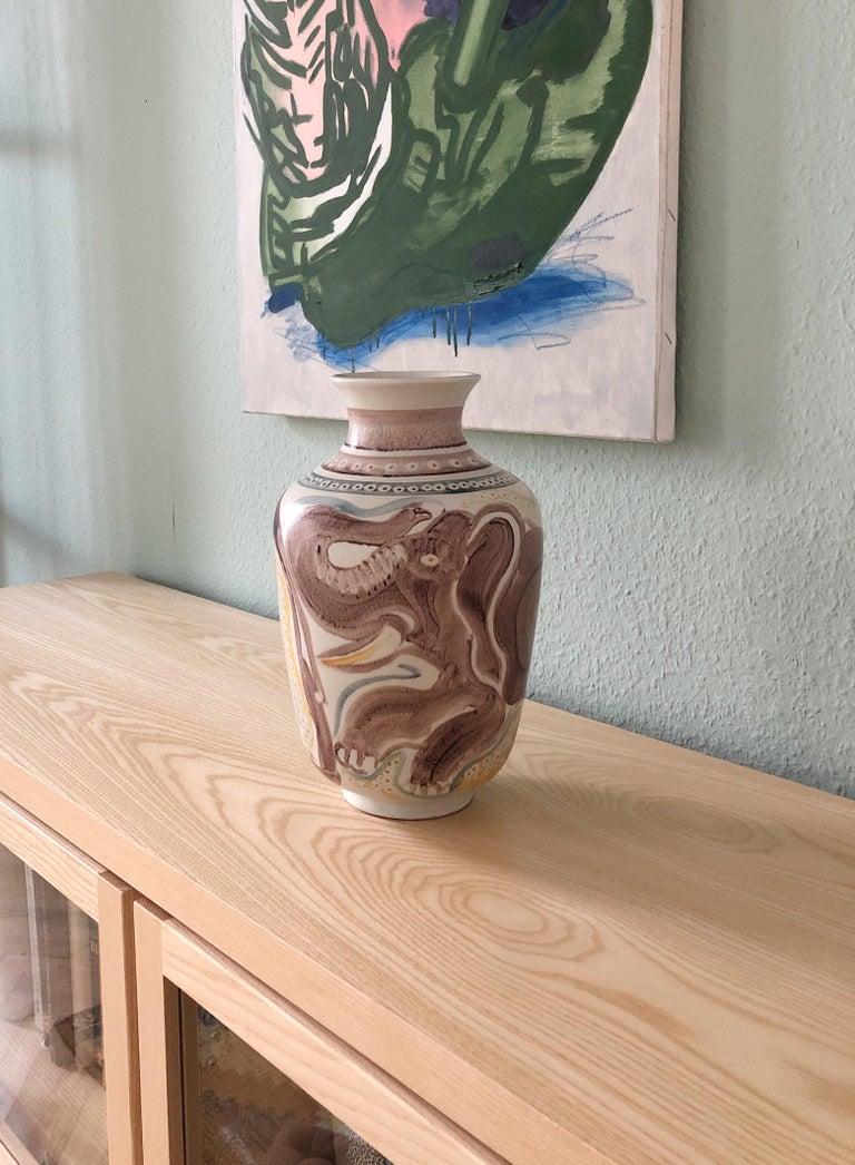 Stoneware Scandinavian Modern Unique Hand Decorated Vase by Carl-Harry Stålhane, Rörstrand For Sale