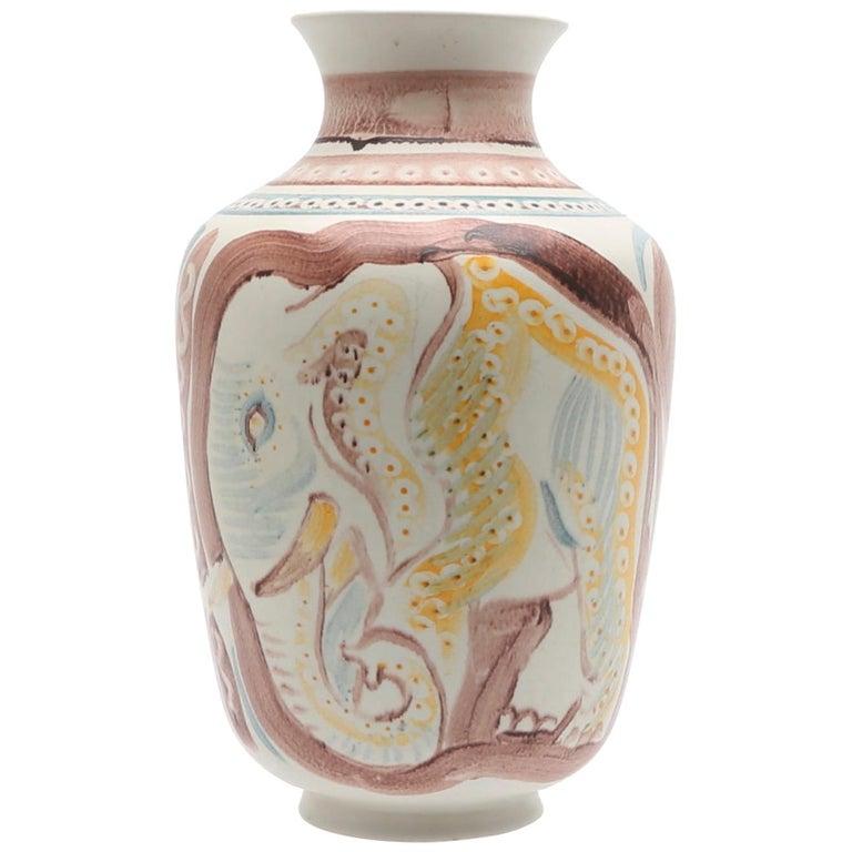 Scandinavian Modern Unique Hand Decorated Vase by Carl-Harry Stålhane, Rörstrand For Sale