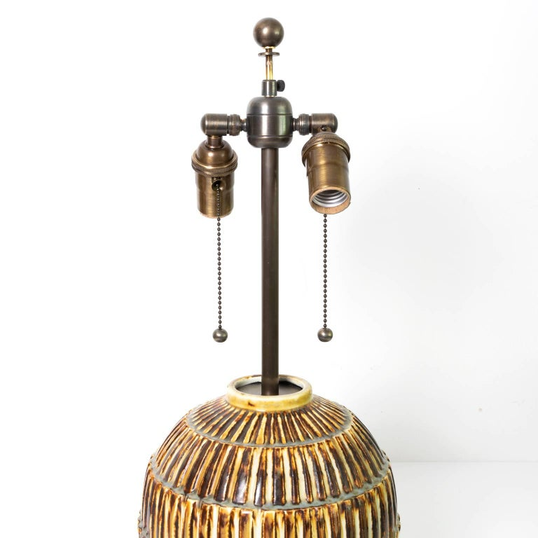 Scandinavian Modern Unique Studio Ceramic Lamp by Gertrud Lonegren, Rörstrand In Excellent Condition For Sale In New York, NY