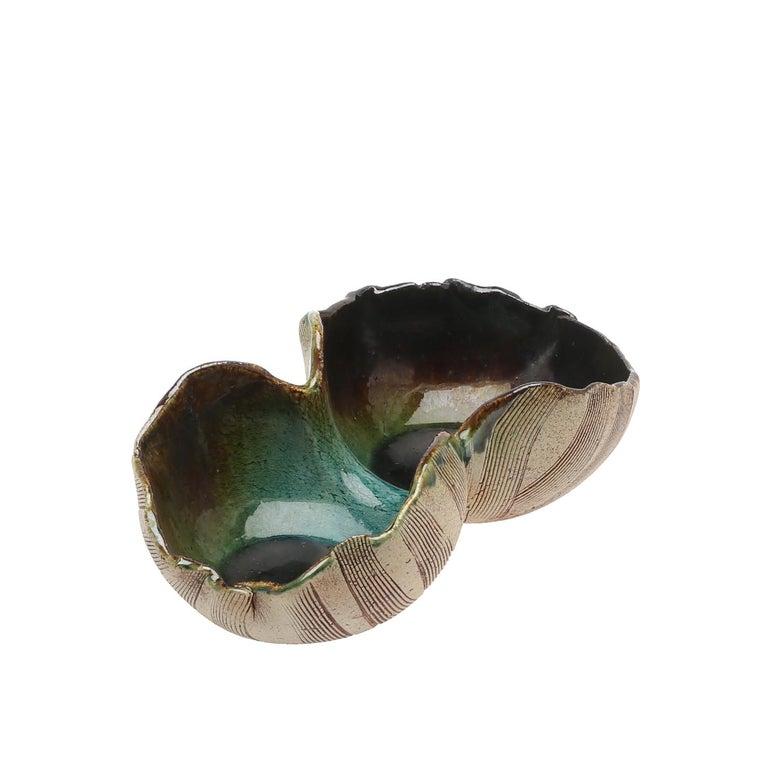Hand-Crafted Scandinavian Modern Unusual Hand Built Double Bowl by Artist Bengt Berglund For Sale