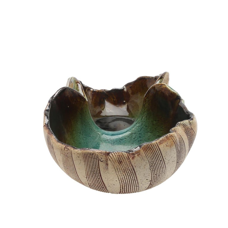 Scandinavian Modern Unusual Hand Built Double Bowl by Artist Bengt Berglund In Good Condition For Sale In Stockholm, SE