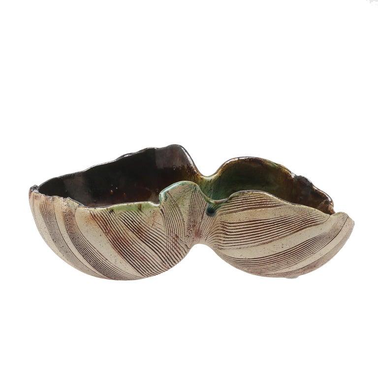 Mid-20th Century Scandinavian Modern Unusual Hand Built Double Bowl by Artist Bengt Berglund For Sale