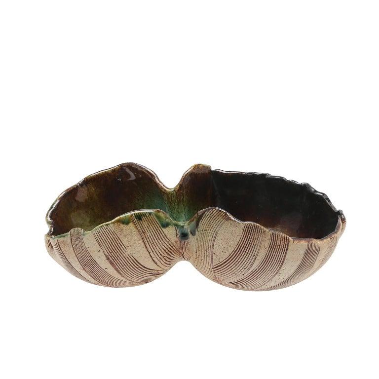 Stoneware Scandinavian Modern Unusual Hand Built Double Bowl by Artist Bengt Berglund For Sale