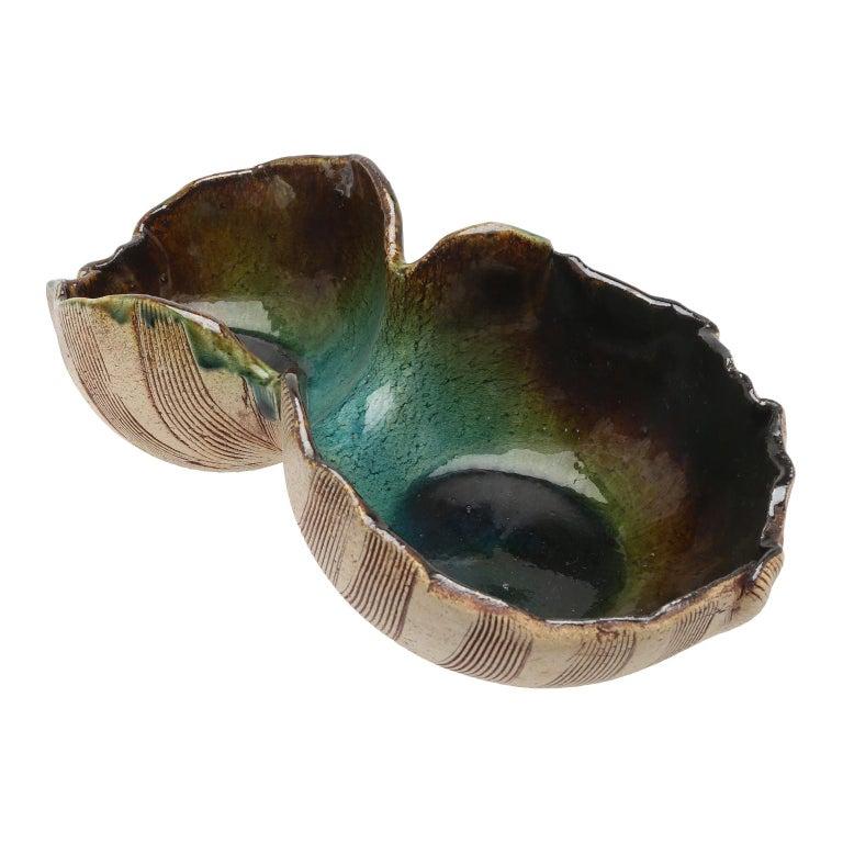 Scandinavian Modern Unusual Hand Built Double Bowl by Artist Bengt Berglund For Sale