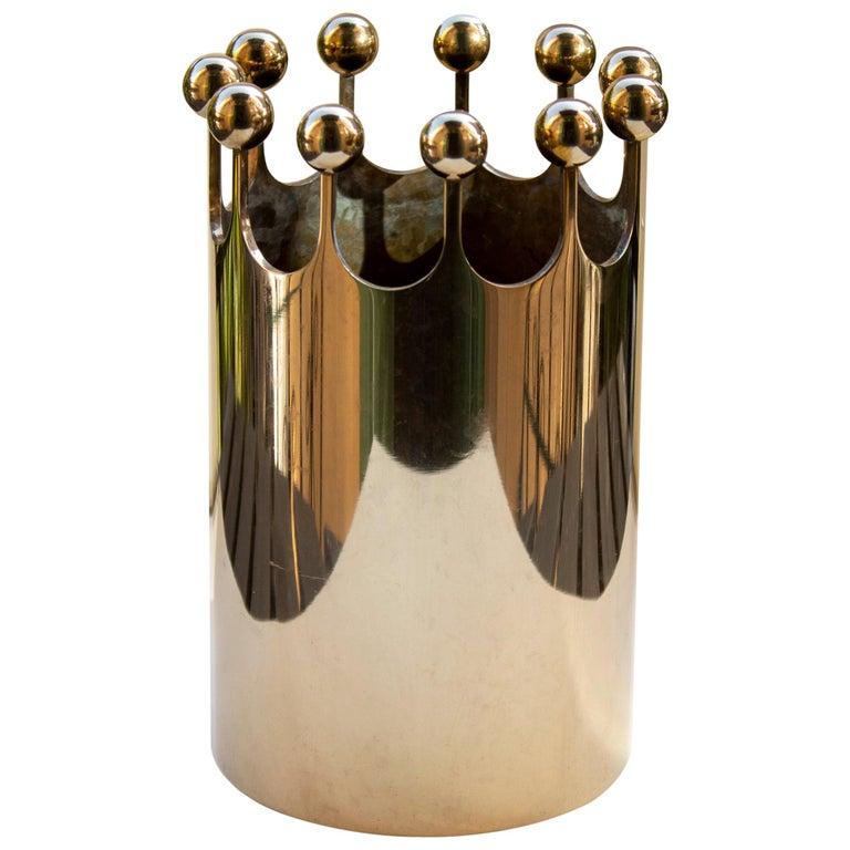 Scandinavian Modern Vase in Brass for Skultuna, Sweden by Pierre Forsell For Sale