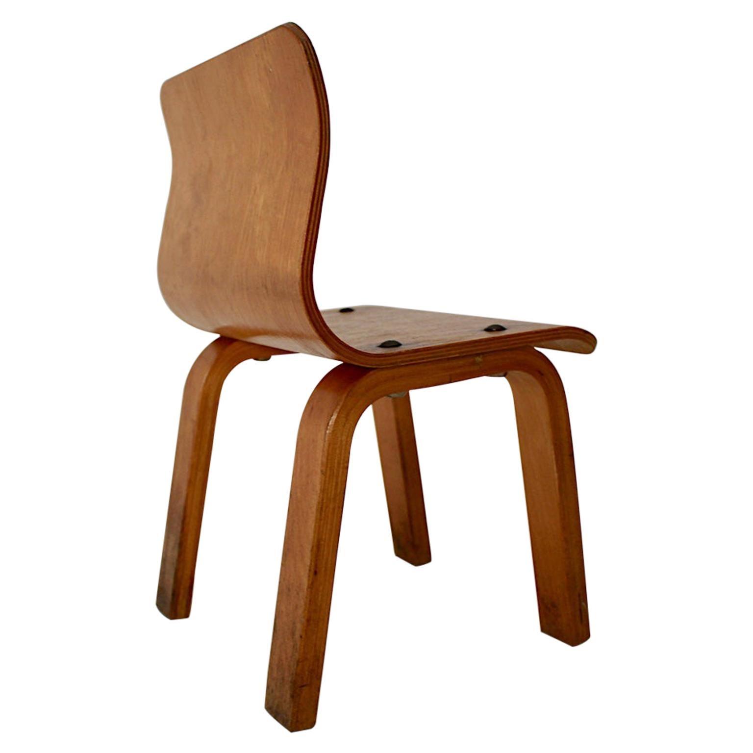 Scandinavian Modern Vintage Birch Plywood Children Chair, 1950s