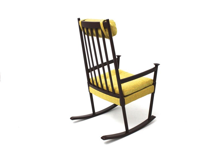 European Scandinavian Modern Vintage Brown Beech with Yellow Cushions Rocking Chair 1960s For Sale