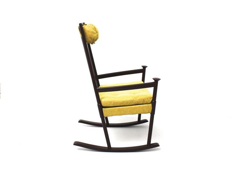 Lacquered Scandinavian Modern Vintage Brown Beech with Yellow Cushions Rocking Chair 1960s For Sale