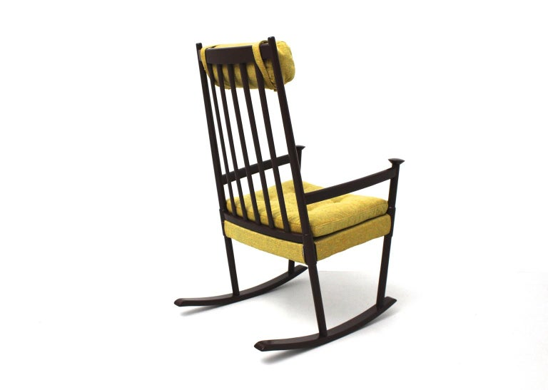Scandinavian Modern Vintage Brown Beech with Yellow Cushions Rocking Chair 1960s In Good Condition For Sale In Vienna, AT