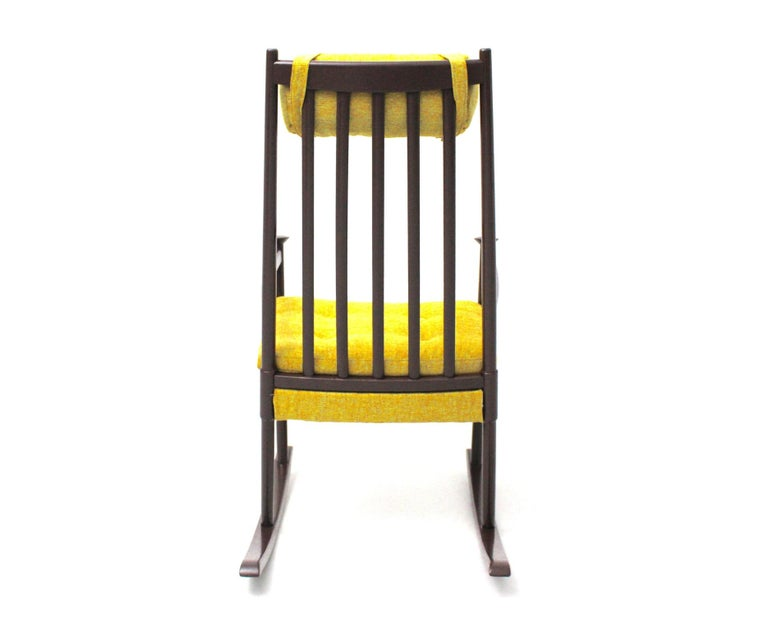 Mid-20th Century Scandinavian Modern Vintage Brown Beech with Yellow Cushions Rocking Chair 1960s For Sale