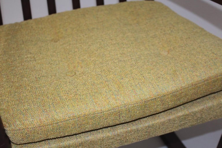 Scandinavian Modern Vintage Brown Beech with Yellow Cushions Rocking Chair 1960s For Sale 1
