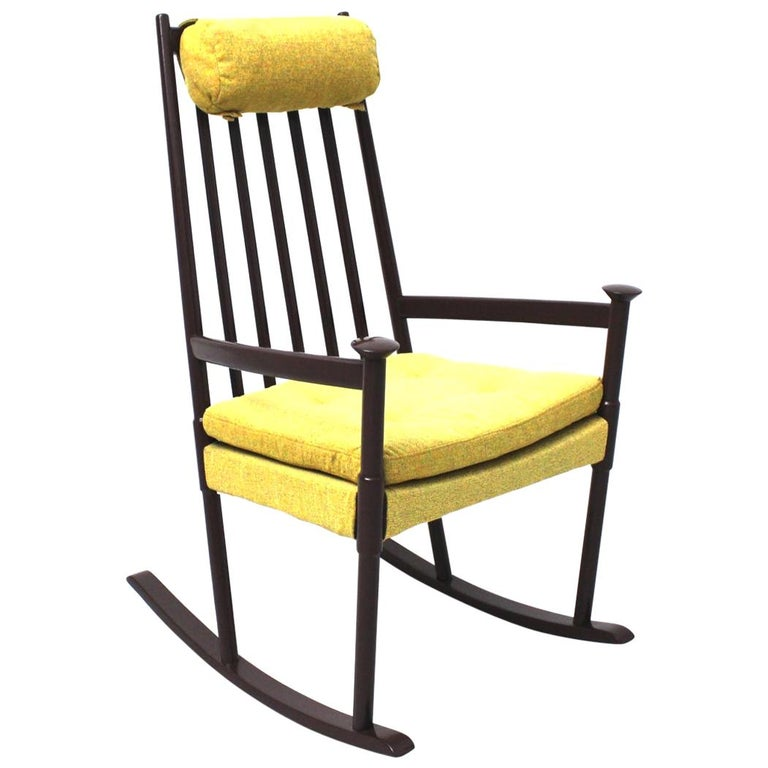 Scandinavian Modern Vintage Brown Beech with Yellow Cushions Rocking Chair 1960s For Sale