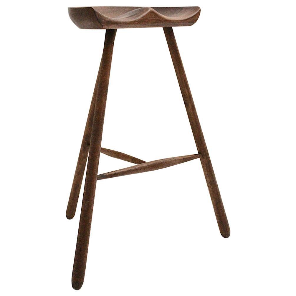 Scandinavian Modern Vintage Brown Teak Stool by Arne Hovmand-Olsen 1960s Denmark
