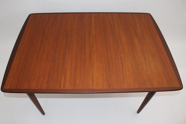 Danish Scandinavian Modern Vintage Teak Extending Dining Table or Table Denmark, 1960s For Sale