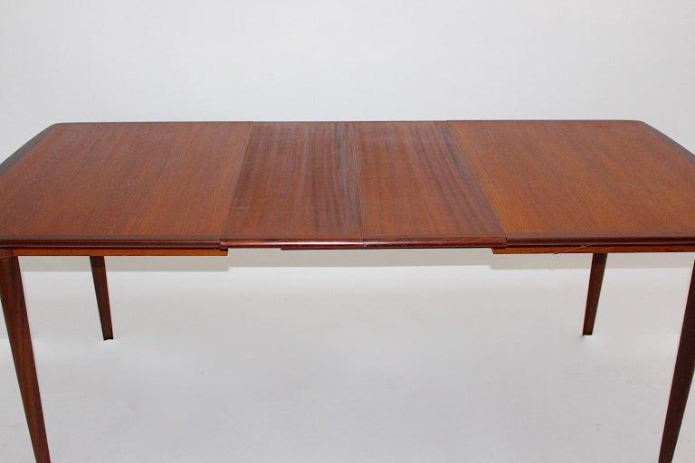 Scandinavian Modern Vintage Teak Extending Dining Table or Table Denmark, 1960s For Sale 2