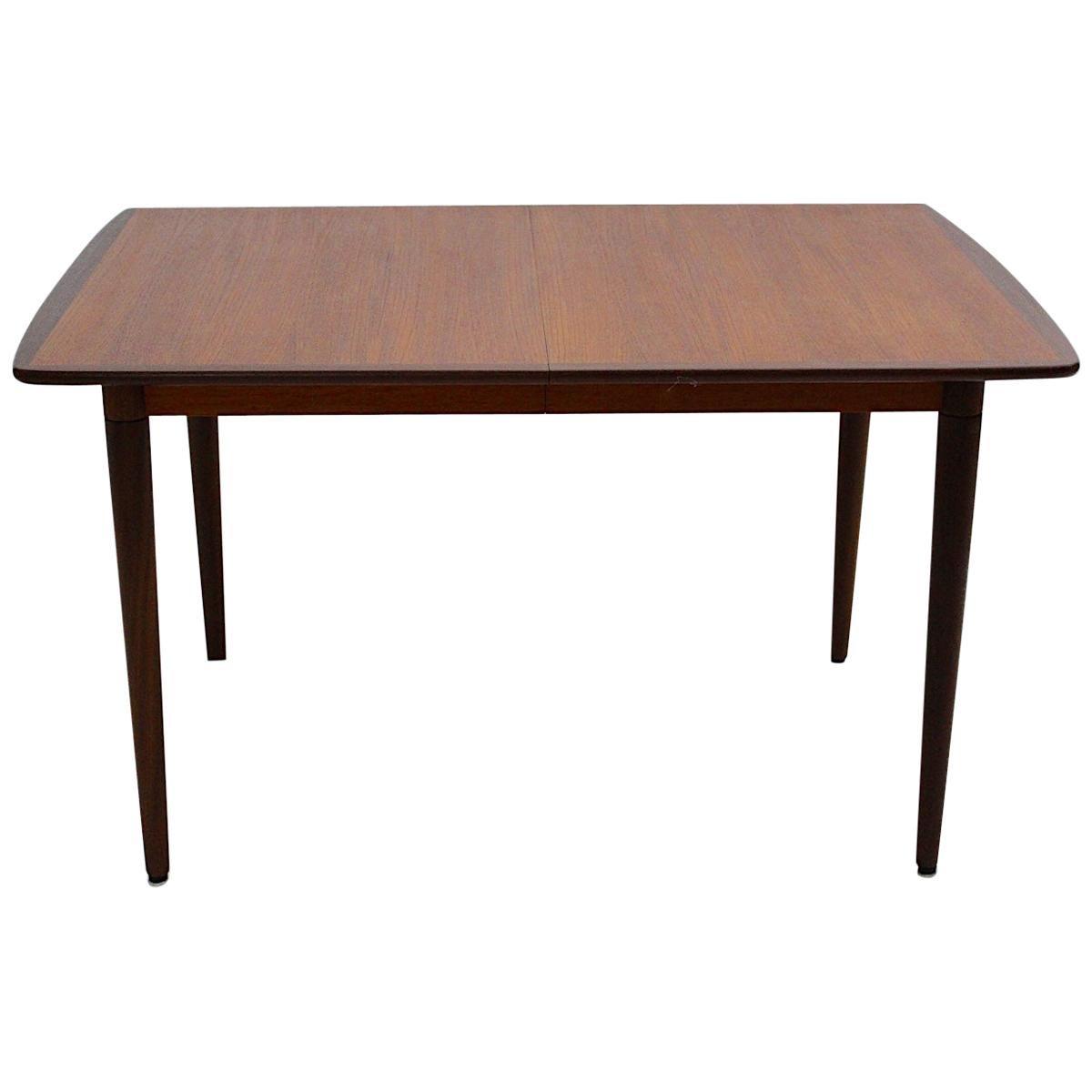 Scandinavian Modern Vintage Teak Extending Dining Table or Table Denmark, 1960s