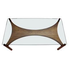 Scandinavian Modern Vintage Teak Glass Coffee Table by Sven Ellekaer, 1960s