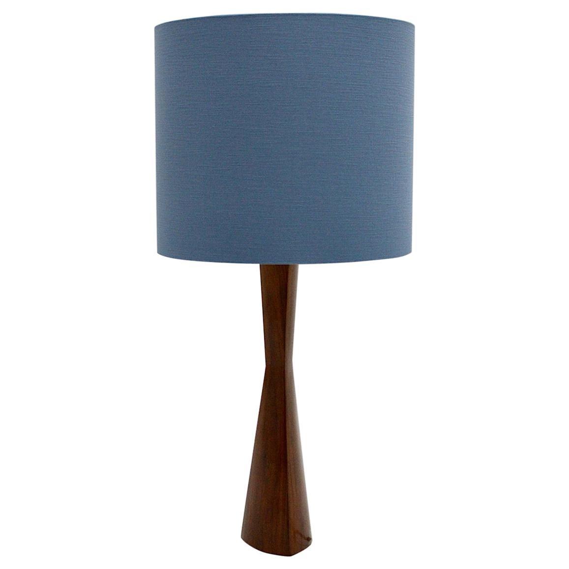 Scandinavian Modern Vintage Teak Table Lamp Blue Lampshade, 1960s, Denmark