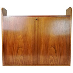 Scandinavian Modern Wall Mounted Office Cabinet Teak, Sweden, 1960s