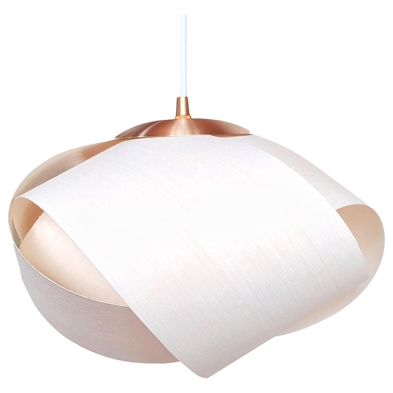 Scandinavian Modern White Wood Veneer Pendant with Brushed Brass For Sale 3