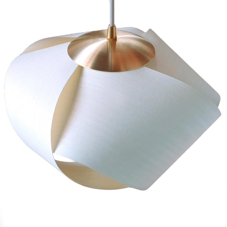 Hand-Crafted Scandinavian Modern White Wood Veneer Pendant with Brushed Brass For Sale
