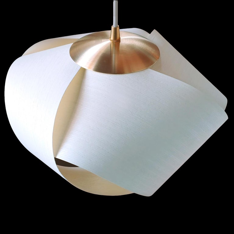 Scandinavian Modern White Wood Veneer Pendant with Brushed Brass For Sale 2