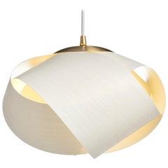 Scandinavian Modern White Wood Veneer Pendant with Brushed Brass