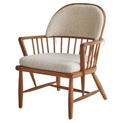 Scandinavian Modern Windsor Chair in Patinated Ash and White Boucle