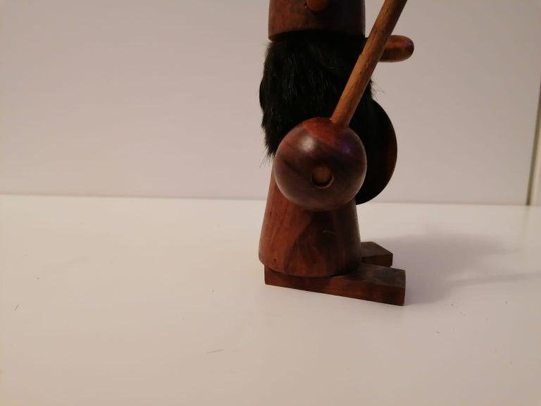 Brass Scandinavian Modern Wooden Viking Figurine For Sale