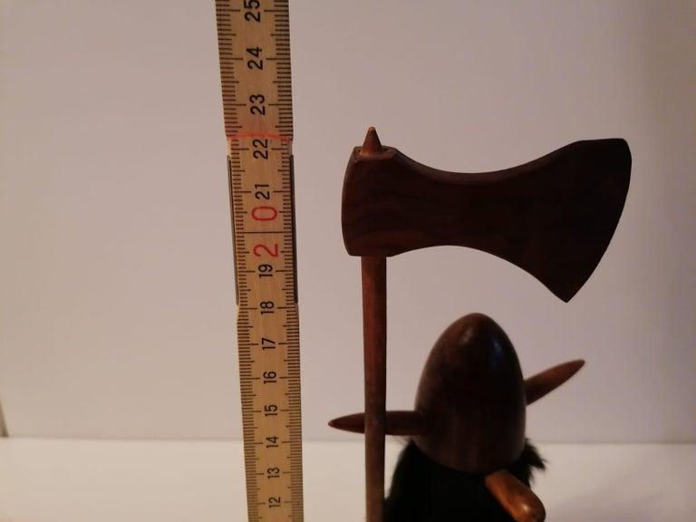 Scandinavian Modern Wooden Viking Figurine For Sale 3