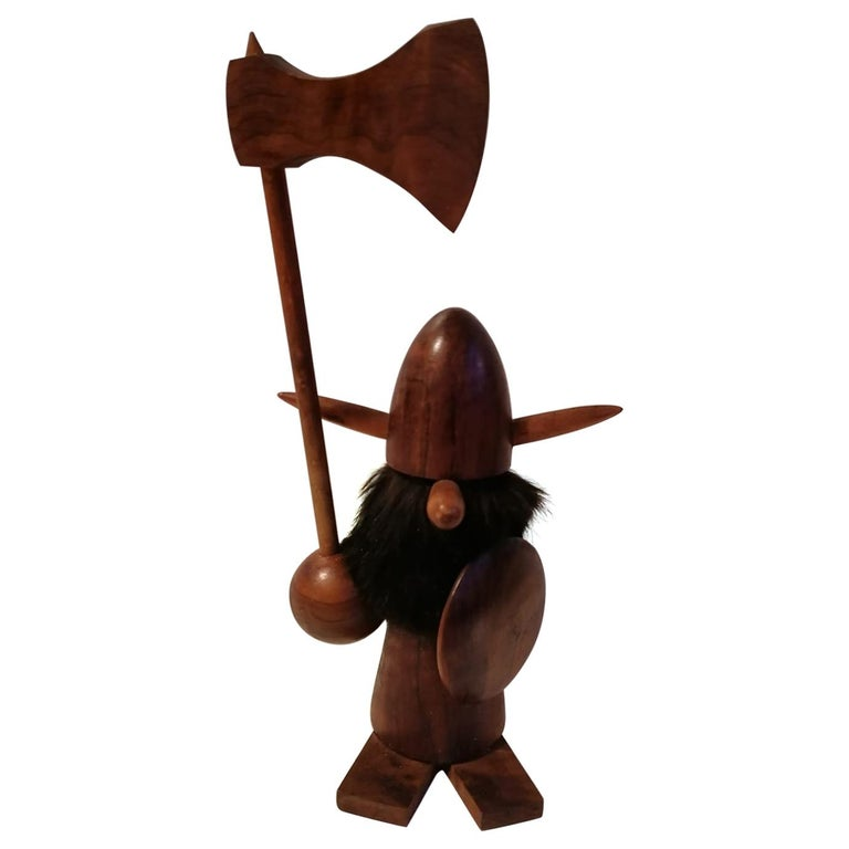 Scandinavian Modern Wooden Viking Figurine For Sale