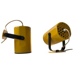 Scandinavian Modern Yellow Wall Lights from Kosta Lampan, 1970s, Set of 2