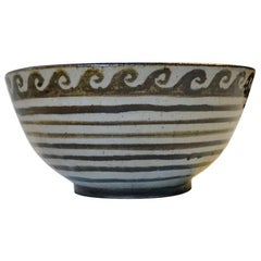 Scandinavian Modernist Ceramic Bowl with Waves, Denmark, 1970s