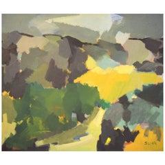Scandinavian Modernist, Colorful Landscape, Oil on Canvas, 1964