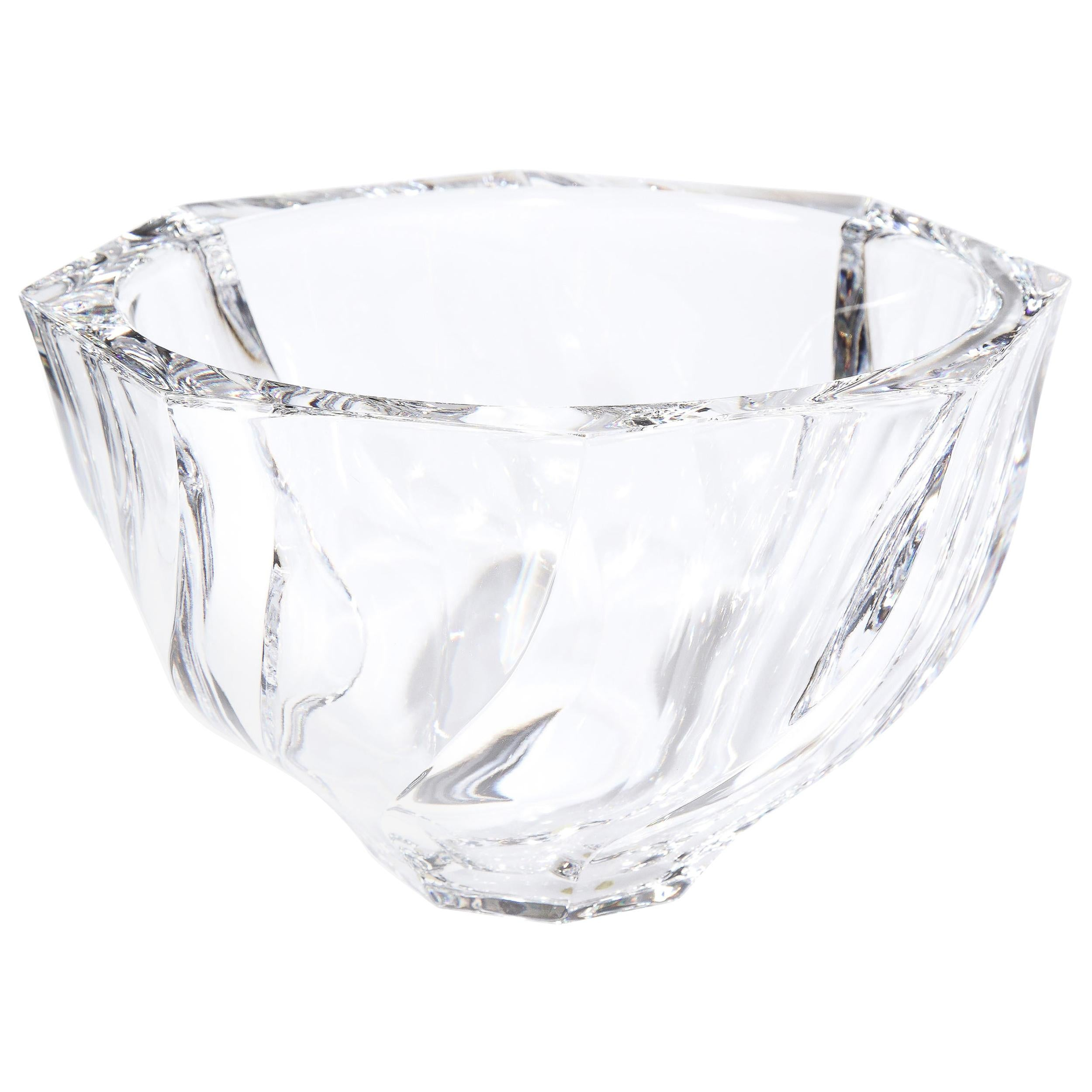 Scandinavian Modernist Faceted Translucent Glass Bowl Signed Orrefors