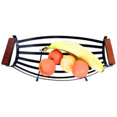 Scandinavian Modernist Fruit/Bread Basket Matt Black with Teak Handles, 1960