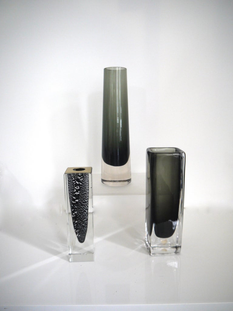 Swedish Scandinavian Modernist Glass Vases Glasbruk and Nils Landberg for Orrefors 1950s For Sale
