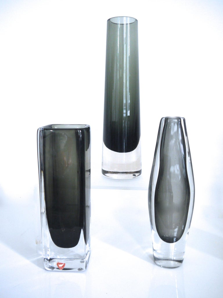 Sommerso Scandinavian Modernist Glass Vases Glasbruk and Nils Landberg for Orrefors 1950s For Sale