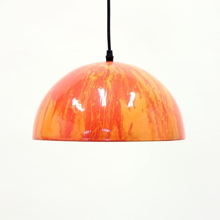 Scandinavian Modern Scandinavian Multicolored Enamel Ceiling Lamp, 1970s For Sale