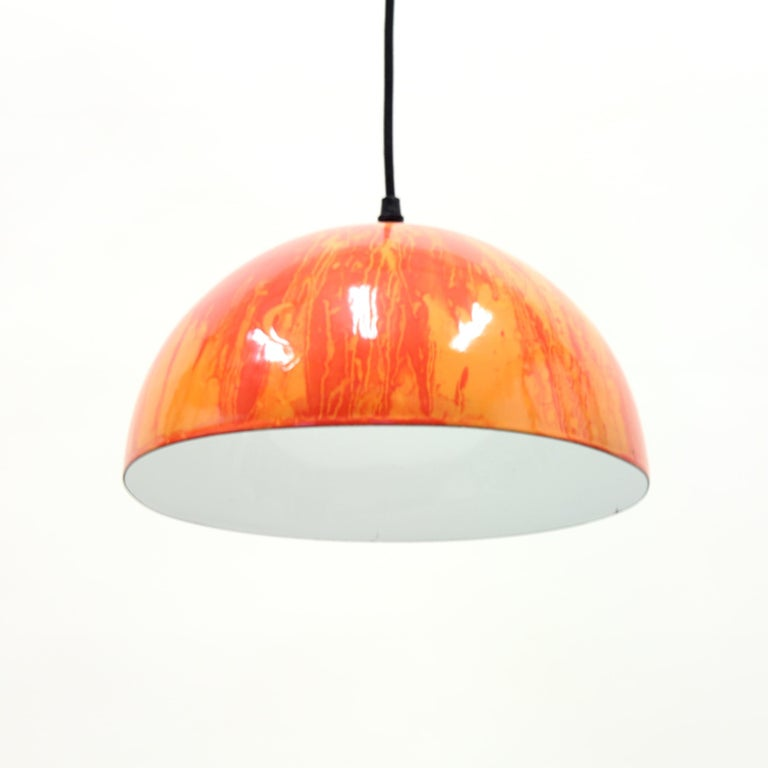 Scandinavian Multicolored Enamel Ceiling Lamp, 1970s In Good Condition For Sale In Uppsala, SE