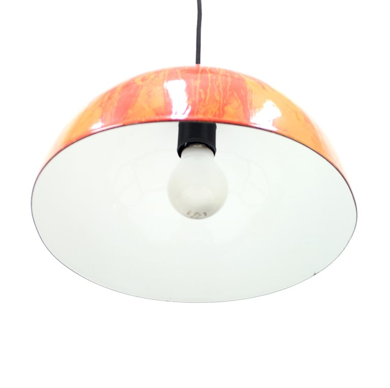 Late 20th Century Scandinavian Multicolored Enamel Ceiling Lamp, 1970s For Sale