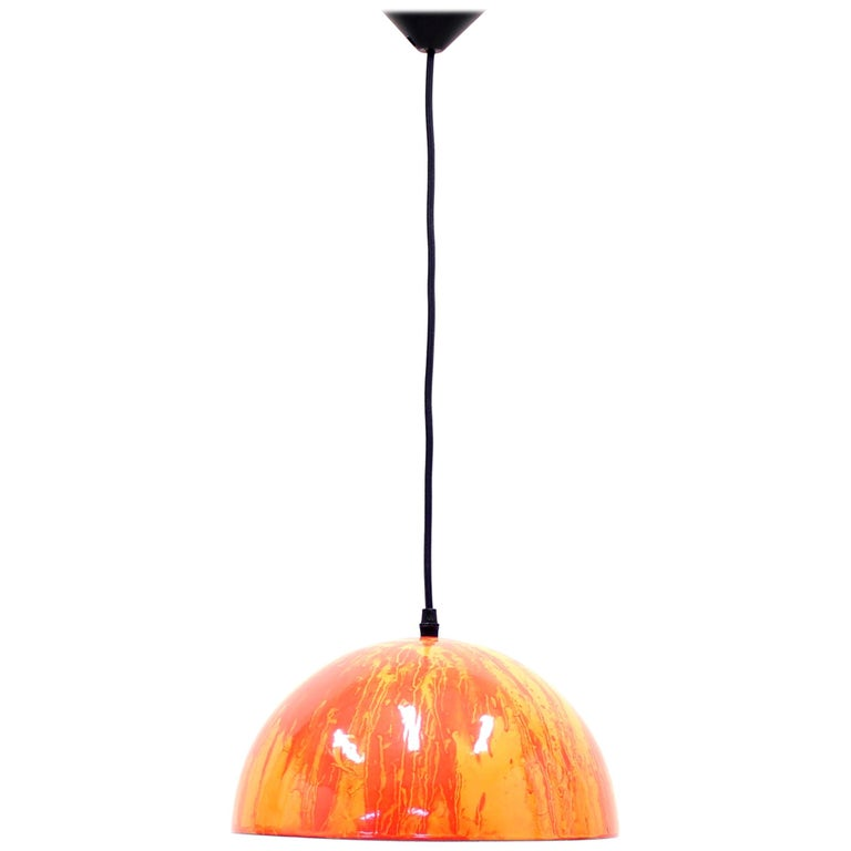 Scandinavian Multicolored Enamel Ceiling Lamp, 1970s For Sale