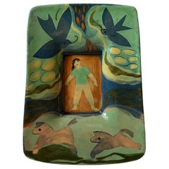Scandinavian 'Naive Dreamscape' Pottery Dish or Wall Plaque, 1960s