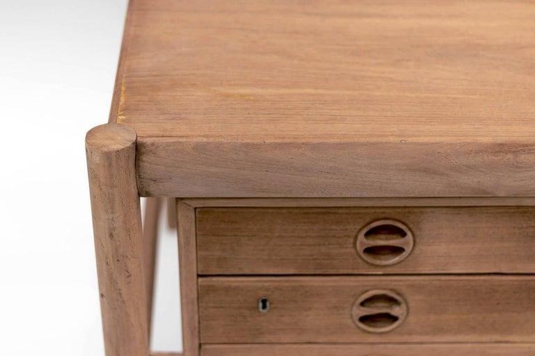 European Scandinavian Natural Teak Desk, 1970s For Sale